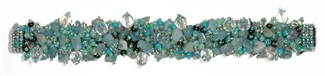 Fuzzy Bracelet with Stones - #162 Mint, Double Magnetic Clasp!