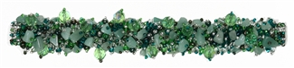 Fuzzy Bracelet with Stones - #171 Green and Crystal, Double Magnetic Clasp!