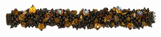 Fuzzy Bracelet with Stones - #201 Brown Iris, Double Magnetic Clasp!