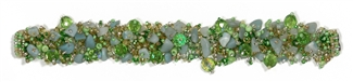 Fuzzy Bracelet with Stones - #211 Lime, Double Magnetic Clasp!