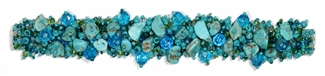 Fuzzy Bracelet with Stones - #231 Turquoise, Double Magnetic Clasp!
