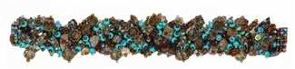 Fuzzy Bracelet with Stones - #241 Jasper, Turquoise, Purple, Double Magnetic Clasp!