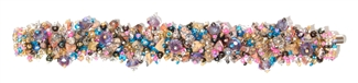 Fuzzy Bracelet with Stones - #247 Pink, Blue, Jasper, Double Magnetic Clasp!