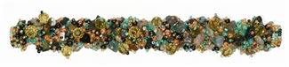 Fuzzy Bracelet with Stones - #250 Green Multi, Double Magnetic Clasp!