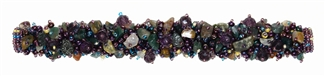Fuzzy Bracelet with Stones - #252 Lavender and Green, Double Magnetic Clasp!