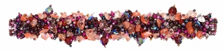 Fuzzy Bracelet with Stones - #253 Purple Rose, Double Magnetic Clasp!