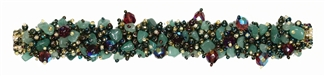 Fuzzy Bracelet with Stones - #255 Green Iris and Purple, Double Magnetic Clasp!