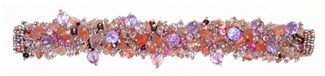 Fuzzy Bracelet with Stones - #257 Lavender and Rose, Double Magnetic Clasp!