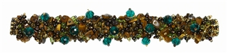 Fuzzy Bracelet with Stones - #259 Earth with Green Crystals, Double Magnetic Clasp!