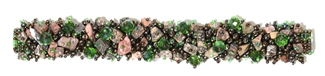 Fuzzy Bracelet with Stones - #260 Green and Bronze, Double Magnetic Clasp!