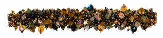 Fuzzy Bracelet with Stones - #275 Earth and Multi, Double Magnetic Clasp!