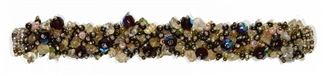 Fuzzy Bracelet with Stones - #287 Purple, Brown Iris, Pearl, Double Magnetic Clasp!