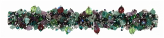 Fuzzy Bracelet with Stones - #288 Purple, Green, Crystal, Double Magnetic Clasp!