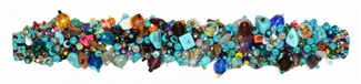 Fuzzy Bracelet with Stones - #289 Turquoise and Multi, Double Magnetic Clasp!