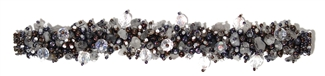Fuzzy Bracelet with Stones - #295 Gray and Crystal, Double Magnetic Clasp!