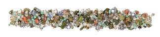 Fuzzy Bracelet with Stones - #421 Green, Pearl, Crystal, Double Magnetic Clasp!