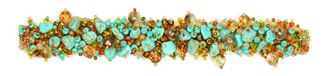 Fuzzy Bracelet with Stones - #462 Turquoise, Bronze, Coral, Double Magnetic Clasp!