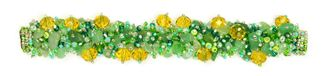 Fuzzy Bracelet with Stones - #495 Green, Crystal, Amber, Double Magnetic Clasp!