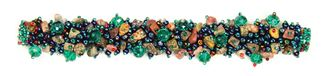 Fuzzy Bracelet with Stones - #496 Blue Iris and Emerald, Double Magnetic Clasp!