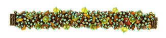 Fuzzy Bracelet with Stones - #497 Copper and Turquoise, Double Magnetic Clasp!