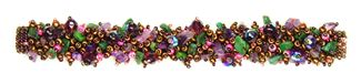 Fuzzy Bracelet with Stones - #499 Purple, Green, Copper, Double Magnetic Clasp!