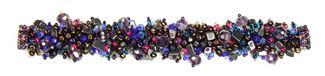 Fuzzy Bracelet with Stones - #502 Purple and Hematite, Double Magnetic Clasp!