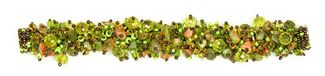 Fuzzy Bracelet with Stones - #508 Unakite and Lime, Double Magnetic Clasp!