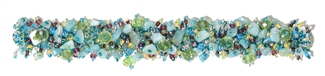 Fuzzy Bracelet with Stones - #608 Turquoise, Emerald, Crystal, Double Magnetic Clasp!