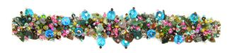 Fuzzy Bracelet with Stones - #760 Pink, Green, Blue Crystals, Double Magnetic Clasp!