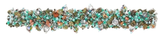 Fuzzy Bracelet with Stones - #830 Unakite, Aqua, Crystal, Double Magnetic Clasp!