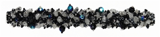 "Fuzzy Bracelet with Stones, Small 6.5"" - #102 Black and Crystal, Double Magnetic Clasp!"