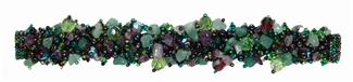"Fuzzy Bracelet with Stones, Small 6.5"" - #105 Purple and Green, Double Magnetic Clasp!"