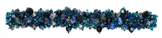 "Fuzzy Bracelet with Stones, Small 6.5"" - #108 Blue, Double Magnetic Clasp!"