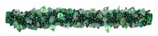 "Fuzzy Bracelet with Stones, Small 6.5"" - #109 Green, Double Magnetic Clasp!"