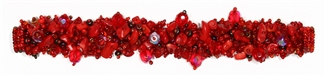 "Fuzzy Bracelet with Stones, Small 6.5"" - #110 Red Coral, Double Magnetic Clasp!"
