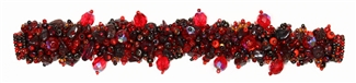 "Fuzzy Bracelet with Stones, Small 6.5"" - #111 Red Garnet, Double Magnetic Clasp!"