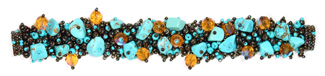 "Fuzzy Bracelet with Stones, Small 6.5"" - #131 Turquoise and Bronze, Double Magnetic Clasp!"