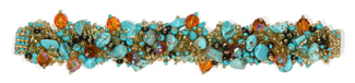 "Fuzzy Bracelet with Stones, Small 6.5"" - #132 Turquoise and Gold, Double Magnetic Clasp!"