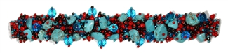 "Fuzzy Bracelet with Stones, Small 6.5"" - #138 Turquoise and Red, Double Magnetic Clasp!"