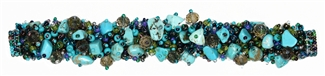 "Fuzzy Bracelet with Stones, Small 6.5"" - #141 Turquoise and Blue/Green, Double Magnetic Clasp!"
