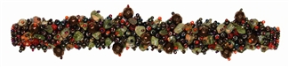 "Fuzzy Bracelet with Stones, Small 6.5"" - #238 Red and Unakite, Double Magnetic Clasp!"