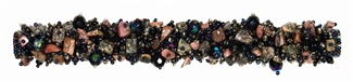 "Fuzzy Bracelet with Stones, Small 6.5"" - #256 Jasper and Black, Double Magnetic Clasp!"