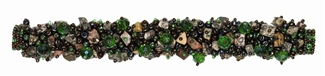 "Fuzzy Bracelet with Stones, Small 6.5"" - #260 Green and Bronze, Double Magnetic Clasp!"