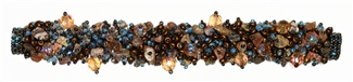 "Fuzzy Bracelet with Stones, Small 6.5"" - #262 Jasper, Brown Iris, Blue, Double Magnetic Clasp!"