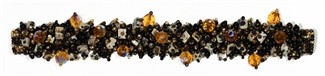 "Fuzzy Bracelet with Stones, Small 6.5"" - #278 Black, Brown Iris, Dalmation, Double Magnetic Clasp!"