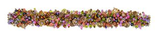 "Fuzzy Bracelet with Stones, Small 6.5"" - #435 Pink, Green, Copper, Double Magnetic Clasp!"