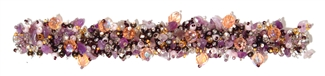 "Fuzzy Bracelet with Stones, Small 6.5"" - #477 Purple, Orange, Pearl, Double Magnetic Clasp!"