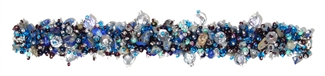 "Fuzzy Bracelet with Stones, Small 6.5"" - #506 Blue Iris and Crystal, Double Magnetic Clasp!"
