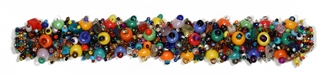 "Fuzzy Bracelet with Stones, Large 7.75"" - #101 Multi, Double Magnetic Clasp!"