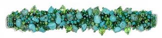 "Fuzzy Bracelet with Stones, Large 7.75"" - #134 Turquoise and Lime, Double Magnetic Clasp!"